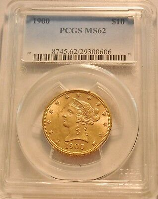1900 $10 PCGS MS 62 Gold Liberty Eagle, Uncirculated Ten Dollar Coin, Nice look