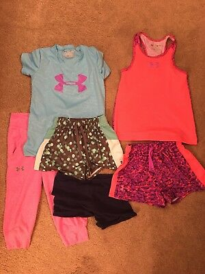Lot Of 6 Girls Clothes Under armour Shorts Tank Top Capris Youth Small