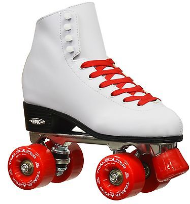 NEW Epic Classic White w/ Red Wheels High-Top Quad Roller Skates + 2 Pair Laces