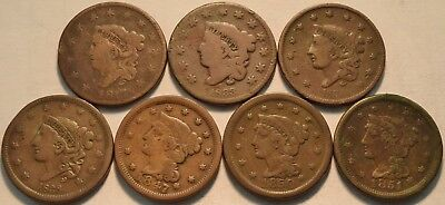 Lot (7) Coronet Head, Braided Hair Large Cents 1817 1833 1836 1838 1847 Penny 1C