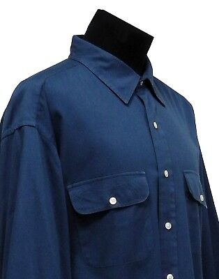 Vintage Brooks Brothers Men's XL Dark Blue Button Front Cotton Sports Shirt EUC
