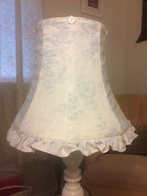Waverly Linen Ruffle Lamp Shade French Blue Floral Roses