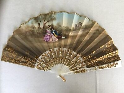 Vintage Victorian French Double Sided Hand Painted Signed Hand Fan