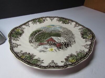 Vintage Johnson Brothers Friendly Village Round Cake Plate With Tab Handles