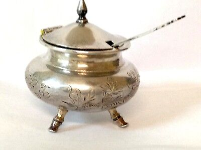 Antique Chinese STERLING SILVER MUSTARD POT with Leaf Shaped Spoon