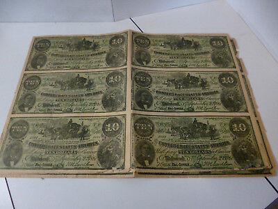 Uncut sheet of 6 Facsimile $10 Confederate Currency Bills 1861 Copyright 1912