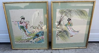 Pair Of Beautiful Framed Antique Chinese Watercolor Paintings On Rice Paper?