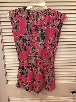 Girls Lilly Pulitzer Hot Pink Short Sleeve Romper Size L 8-10