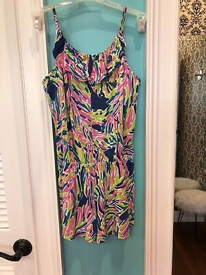Girls Lilly Pulitzer Palm Reader Romper Size L 8-10