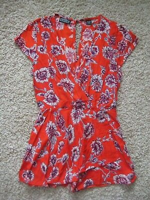 Gorgeous New Burnt Orange/Red Floral Romper Size Small Angie Brand