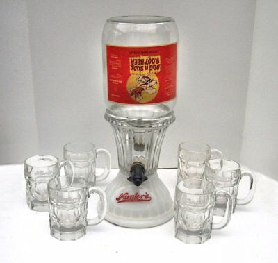 Hunters Root Beer Soda Fountain Syrup Dispenser Set + 6 mugs, Dog n Suds Bottle