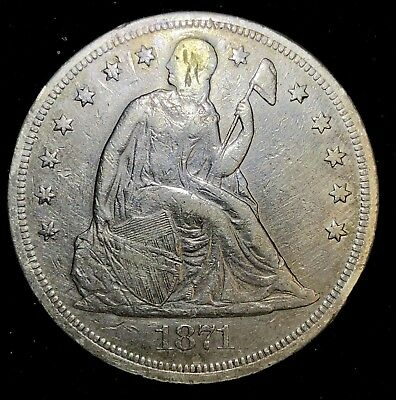 1871 Seated Liberty Dollar, Classic Type Silver $1 Coin A-250