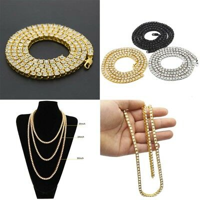 Fashion Men's 1 Row Crystal Chain Tennis Necklace Hip Hop Jewelry 20/24/30 inch