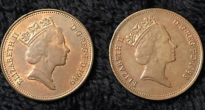 Great Britain 1988 & 1989 Two Pence Coins UK England Queen Elizabeth II