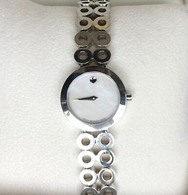 Ladies Stainless Steel  MOVADO ONO MODA  White Museum Dial Swiss Quartz Watch 7""