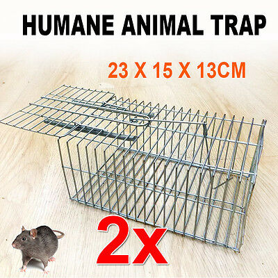 2X Humane Rat Trap Cage Live Animal Pest Rodent Mice Mouse Control Silver