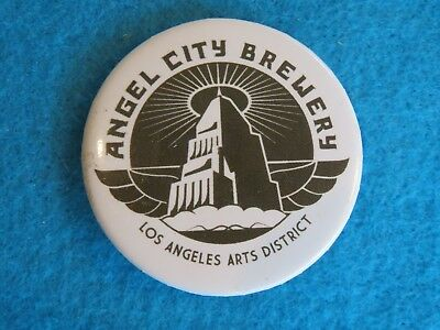 BEER BUTTON Pinback ~ ANGEL CITY Brewing ~ Los Angeles, CALIFORNIA Arts Distrct
