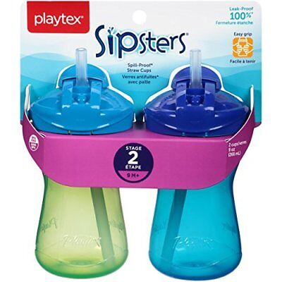 Playtex Sipsters Stage 2 Straw Cups,Color may vary,9 oz,Pack of 2.