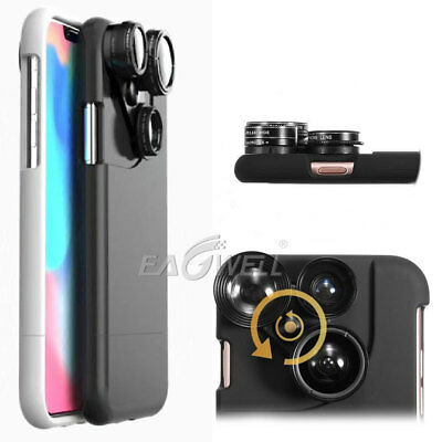For iPhone X Case 4 in1 Camera Lens Kit Fisheye Macro Wide Angle telephoto Lens