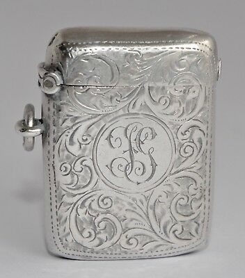 William Neale Chester 1901 Sterling Silver Chased Vesta Case/Match Strike
