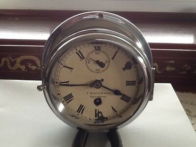 antique ships clock 8day Swiss movement 6 inches wide .f.smith & son Southampton