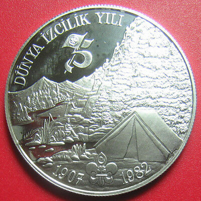 """1982-1983 Turkey 3000 Lira Silver Proof """"london Tower"""" Scout Year Mint=445 Coins"""
