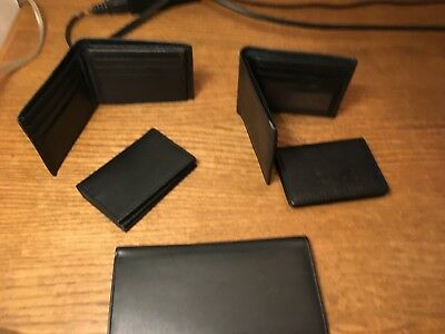 Lot Of 5 Leather Wallets Tri-Fold, Bi-Fold Brown & Black Leather
