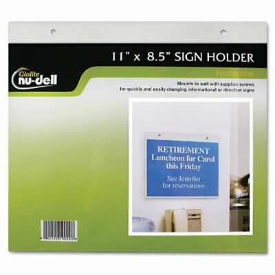 NU-DELL MANUFACTURING 38008Z Clear Plastic Sign Holder, Wall Mount, 8 1/2 X 11