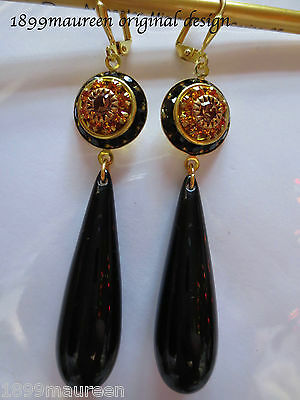 Black Art Deco earrings Art Nouveau Edwardian vintage topaz crystal LONG