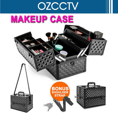 Makeup Cosmetic Case Organiser Box Diamond Black Pro Portable Beauty w/ Strap