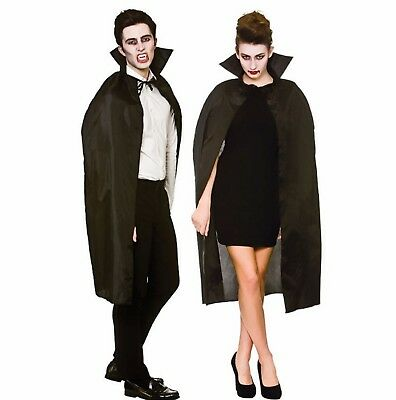Adult Black Vampire Cape With Collar Fancy Dress Halloween Costume Accessory