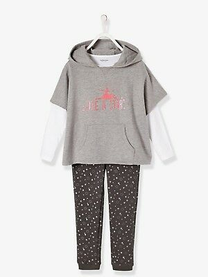Girls New Verbaudet Hoodie Sweatshirt Joggers & Top Set Age 5-6y 114cm Star