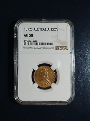 1892 S AUSTRALIA GOLD ONE SOVEREIGN NGC AU58 1 SOV GOLD Coin PRICED TO SELL NOW!