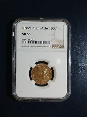 1896 M AUSTRALIA GOLD ONE SOVEREIGN NGC AU55 1 SOV GOLD Coin PRICED TO SELL NOW!