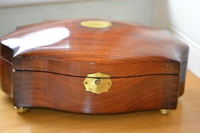 Stunning Scalloped Shaped Mahogany Box On Brass Feet Restored To Perfection