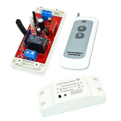Wireless Switch Relay receiver 433MHz 220v + 2 Buttons White Remote control
