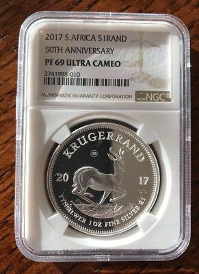 1 oz Silver 2017 Proof  50th Anniversary Krugerrand South Africa 15000 Worldwide