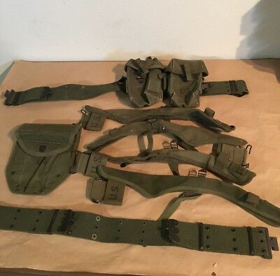 Vintage US Army Military Pistol Belts, Axe Holders, Shovel Cover more Lot of 9