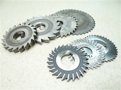 """Lot Of 7 Assorted Hss Milling Cutters 1/16"""" To 3/8"""" Widths 1"""" Bores"""