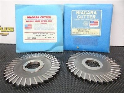 "Nice Pair Of Hss Sraight Toothed Slitting Saws 4"" W/1"" Bores Niagara"