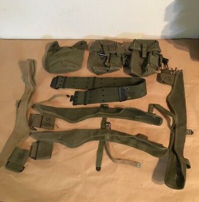 Vintage US Army Military Pistol Belt, Axe Holders, and more Lot of 8