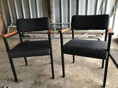 Tan-sad Pair Of Mid Century Danish Style Armchairs