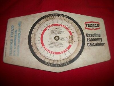 1974 Texaco Gas & Oil Gasoline Economy Calculator Mileage Wheel & Bi-fold Chart