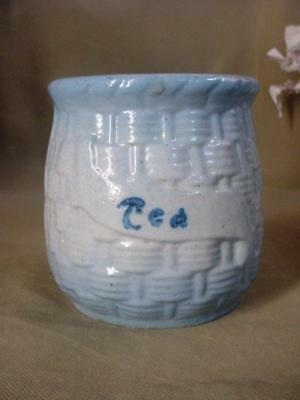ANTIQUE Blue White STONEWARE Basket Weave Morning Glory TEA CANISTER SPICE JAR