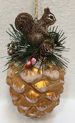 Pine Cone Chipmunk Hand Blown Glass Christmas Ornament Gold Snow Covered 5.5""