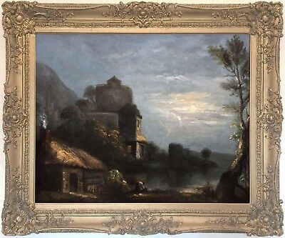 A Moonlit River Landscape Antique Oil Painting Early 19th Century English School