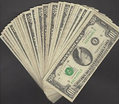 (1) FEDERAL RESERVE TEN DOLLAR BILL..OLD CURRENCY..SMALL HEADS..$10...1980's