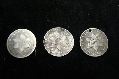 Lot of 3 Nice 1852 Three Cent Silver Pieces