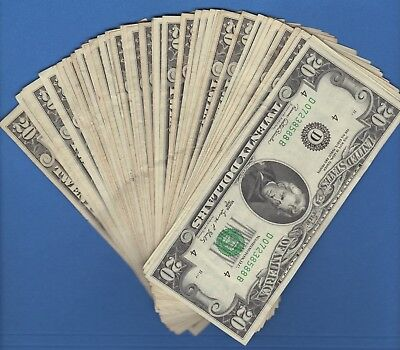 FEDERAL RESERVE TWENTY DOLLAR BILLS..OLD CURRENCY..SMALL HEADS..$20...1980's