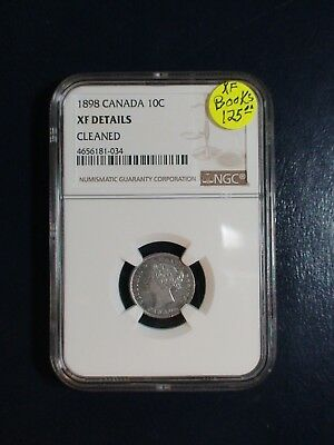 1898 Canada Ten Cents NGC XF SILVER 10C Coin PRICED TO SELL QUICKLY!